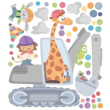 Excavadora amb animals - Vinil decoratiu infantil Vinils Infantils Vinils per a nens amb divertides il·lustracions plenes de color. Vinils per decorar habitacions infantils amb dibuixos que enamoren als petits i als grans. Murals originals i fàcils de col·locar.  Mides aproximades del vinil enganxat (ample x alt) Bàsic: 60x40cm Petit: 85x60 cm Mitjà:110x75 cm Gran: 150x100 cm Gegant: 200x130 cm AFEGEIX UN NOM AL VINIL DES DE 9,99€    vinilos infantiles y bebé Starstick