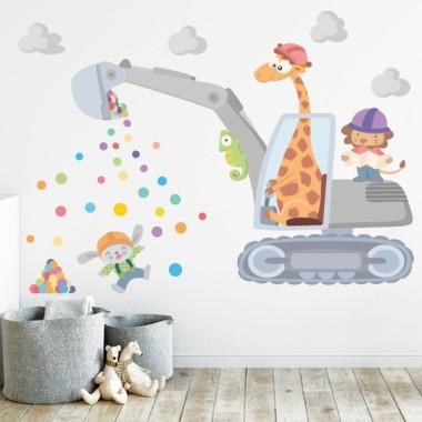 Vinilos originales y divertidos para niños y bebé - Excavadora con animales - Vinilo decorativo infantil