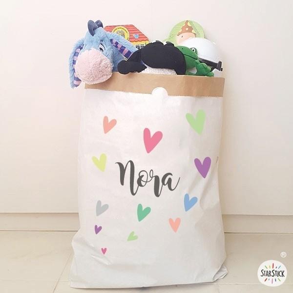 Paperbag - Nom avec coeurs - Sac en papier