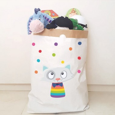 Sac organitzador de paper - Gat amb confeti de colors