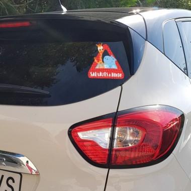 """Sauvage à bord - Adhésif pour voiture Stickers bébé à bord Adhésif pour voiture """"Sauvage à bord"""" Dimensions: 16x15 cm Matériau:Sticker autocollantpelliculage vinilos infantiles y bebé Starstick"""