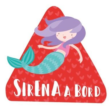 """Sirène à bord - Adhésif pour voiture Stickers bébé à bord Adhésif pour voiture """"Sirène à bord"""" Dimensions: 16x15 cm Matériau:Sticker autocollantpelliculage vinilos infantiles y bebé Starstick"""
