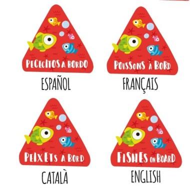 """Peixets a bord - Vinils per a cotxe Adhesius Nadó a bord  """"Peixets a bord"""". Triangles informatius de disseny, per enganxar a la part posterior dels vehicles. Adhesius de gran qualitat i fàcils de col·locar.  Mida del triangle: 16x15 cmMaterial: Vinil mat laminat vinilos infantiles y bebé Starstick"""