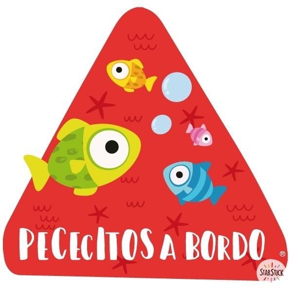"""Poisson à bord - Adhésif pour voiture Stickers bébé à bord Adhésif pour voiture """"Poisson à bord"""" Dimensions: 16x15 cm Matériau:Sticker autocollantpelliculage vinilos infantiles y bebé Starstick"""