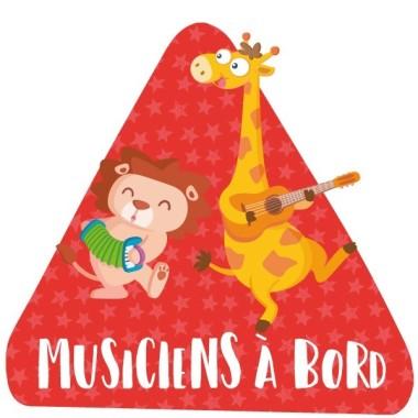 """Musiciens à bord - Adhésif pour voiture Stickers bébé à bord Adhésif pour voiture """"Musiciens à bord"""" Dimensions: 16x15 cm Matériau:Sticker autocollantpelliculage vinilos infantiles y bebé Starstick"""