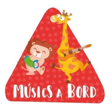 """Músicos a bordo –  Bebé a bordo triángulo para coche Pegatinas Bebé a bordo """"Músicos a bordo"""". Triángulos informativos de diseño, para pegar en la parte posterior de los vehículos. Pegatinas de gran calidad y fáciles de colocar.Bebé a bordo triángulo para coche Tamaño del triangulo: 16x15 cm Material: Vinilo mate laminado vinilos infantiles y bebé Starstick"""