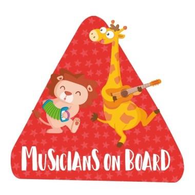 """Músics a bord - Vinils per a cotxe Adhesius Nadó a bord  """"Músics a bord"""". Triangles informatius de disseny, per enganxar a la part posterior dels vehicles. Adhesius de gran qualitat i fàcils de col·locar.  Mida del triangle: 16x15 cmMaterial: Vinil mat laminat vinilos infantiles y bebé Starstick"""