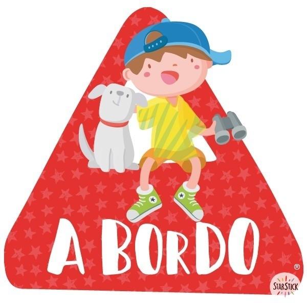 """Nen i gos a bord - Adhesiu per a cotxe Adhesius Nadó a bord  """"A bord"""". Triangles informatius de disseny, per enganxar a la part posterior dels vehicles. Adhesius de gran qualitat i fàcils de col·locar.  Mida del triangle: 16x15 cmMaterial: Vinil mat laminat vinilos infantiles y bebé Starstick"""
