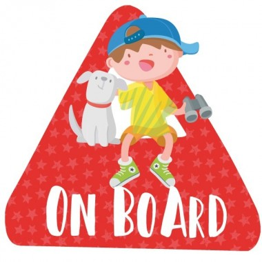 """Enfant et chien à bord - Adhésif pour voiture Stickers bébé à bord Adhésif pour voiture """"À bord"""" Dimensions: 16x15 cm Matériau:Sticker autocollantpelliculage vinilos infantiles y bebé Starstick"""