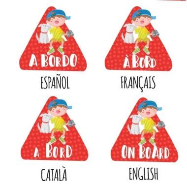 Bebé a bordo triángulo para coche - Niño y perro a bordo –  Adhesivo para coche