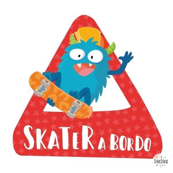 """Skater a bordo –  Bebé a bordo triángulo para coche Bebé a bordo """"Skater a bordo"""". Triángulos informativos de diseño, para pegar en la parte posterior de los vehículos. Pegatinas de gran calidad y fáciles de colocar.Bebé a bordo triángulo para coche Tamaño del triangulo: 16x15 cm Material: Vinilo mate laminado vinilos infantiles y bebé Starstick"""