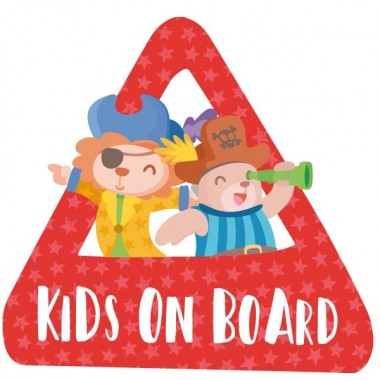 """Nens a bord. Pirates - Vinils per a cotxe Adhesius Nadó a bord  """"Nens a bord"""". Triangles informatius de disseny, per enganxar a la part posterior dels vehicles. Adhesius de gran qualitat i fàcils de col·locar.  Mida del triangle: 16x15 cmMaterial: Vinil mat laminat vinilos infantiles y bebé Starstick"""