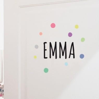 Nombre con confeti - Vinilo personalizable - Nombre para puertas