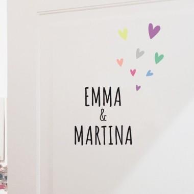 Nom avec coeurs - Sticker nom de porte