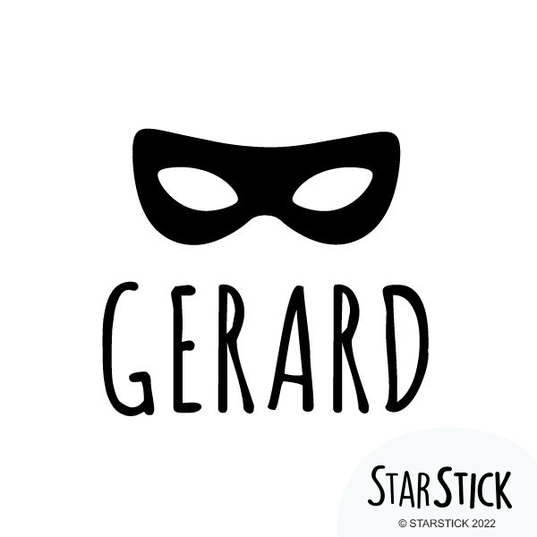 Masque de super-héros avec nom - Sticker nom de porte Stickers porte chambre Taillede la feuille/montage Taille 1 prénom: 16x18 cmTaille 1 prénoms: 18x28cm  vinilos infantiles y bebé Starstick