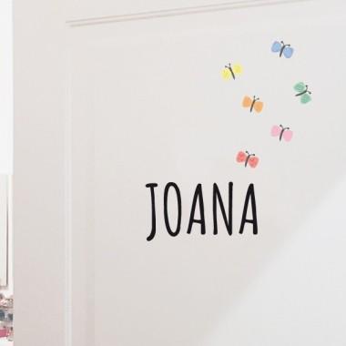 Nom avec papillons - Sticker nom de porte