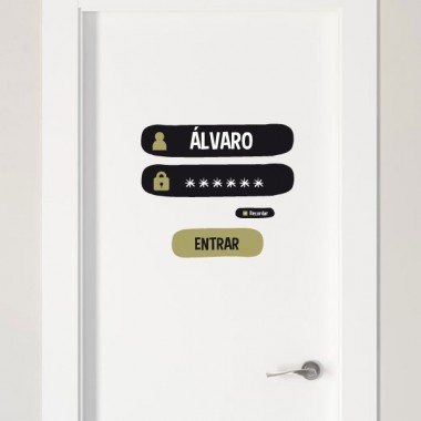 Nom et mot de passe - Sticker nom de porte Stickers porte chambre Taille de la feuille et montage: 25x21 cm   vinilos infantiles y bebé Starstick