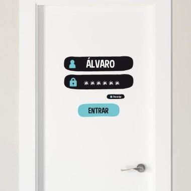 Nom et mot de passe - Sticker nom de porte