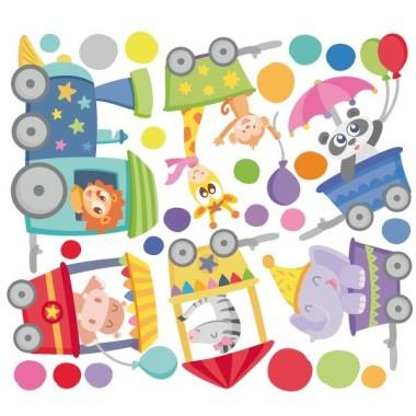 Vinil nadó - Tren amb animals i confeti de colors Vinils nadó Vinils divertits per a habitacions de nadons. Vinil amb un tren de colors, passejant animals i repartint confeti. Un mural ple de color que donarà vida a les teves parets. StarStick, màxima originalitat.  Mides aproximades del vinil enganxat (ample x alt) Básic: 68x35 cm Petit:100x40 cm Mitjà:130x60 cm Gran:165x75 cm Gegant:210x95 cm   AFEGEIX UN NOM AL VINIL DES DE 9,99 €  vinilos infantiles y bebé Starstick