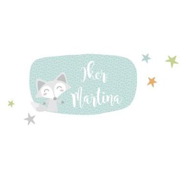 Train avec animaux - Sticker nom de porte Stickers porte chambre Taillede la feuille/montage 1 prénom: 30x20 cm 2 prénoms:30x24 cm   vinilos infantiles y bebé Starstick
