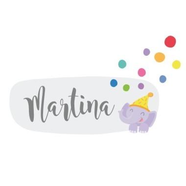 Tren con animales y confeti - Vinilo con nombre para puertas