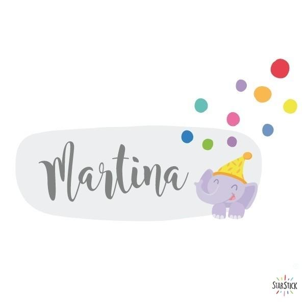 Train avec animaux et confettis - Sticker nom de porte Stickers porte chambre Taillede la feuille/montage 1 prénom: 30x20 cm 2 prénoms:30x24 cm  vinilos infantiles y bebé Starstick