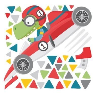 Vinilos infantiles - Coche de carreras con cocodrilo Vinilos Infantiles ¡Preparados, listos… YA! Empieza la carrera con los coches más veloces y divertidos del mercado. Encantadores vinilos decorativos de niños para dar un toque especial en las habitaciones de niños y bebés. Medidas aproximadas del vinilo montado (ancho x alto) Básico: 70x40 cm Pequeño: 95x55 cm  Mediano:140x75 cm  Grande: 200x110 cm Gigante: 350x170 cm AÑADE UN NOMBRE AL VINILO DESDE 9,99€  vinilos infantiles y bebé Starstick