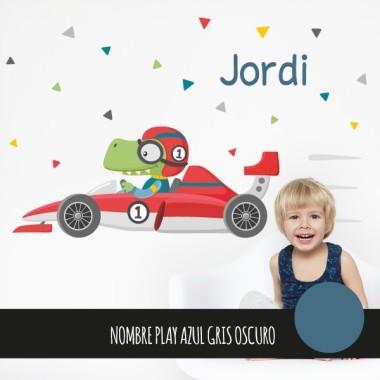 Vinilos infantiles para niños - Coche de carreras con cocodrilo