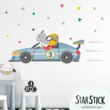 Voiture de course avec rhinocéros - Stickers muraux enfants