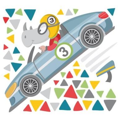 Vinils infantils - Cotxe de carreres amb rinoceront Vinils Infantils Preparats, llestos... JA! Comença la cursa amb els cotxes més veloços i divertits del mercat. Encantadors vinils decoratius per donar un toc especial a les habitacions de nens i nadons. Mides aproximades del vinil enganxat (ample x alt) Bàsic: 70x40 cm Petit: 95x55 cm  Mitjà:140x75 cm  Gran: 200x110 cm Gegant: 350x170 cm  AFEGEIX UN NOM PER EL VINIL DE 9,99€   vinilos infantiles y bebé Starstick