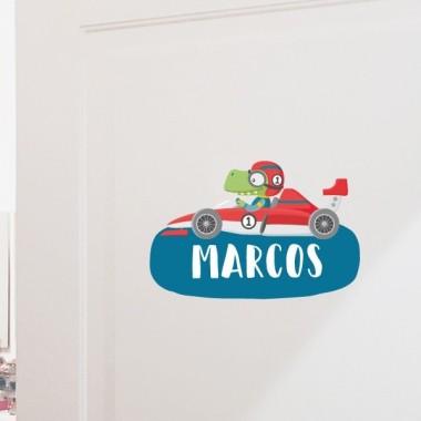 Cotxe de carreres amb cocodril - Vinil amb nom per a portes