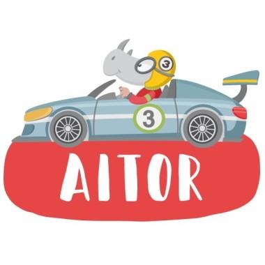Voiture de course avec rhinocéros - Sticker nom de porte