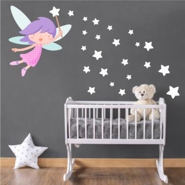 Hada con varita y estrellas gris - Vinilo infantil