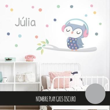 Vinilos infantiles - Búho con confeti - Lila