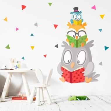 Vinilos infantiles decorativos - Familia de búhos leyendo