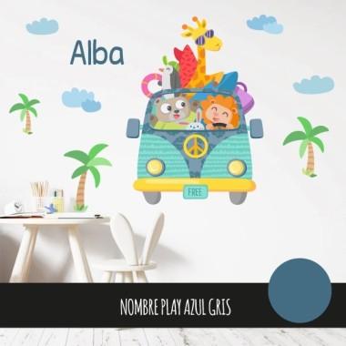 Vinilo infantil y bebé Furgo camping - Vinilos infantiles Vinilo para niños