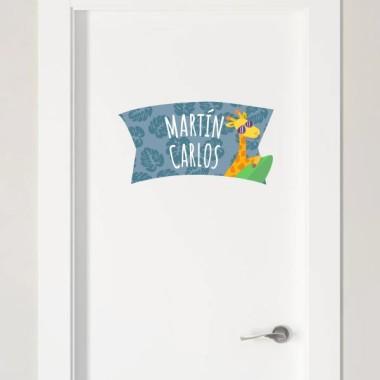 Furgo Càmping - Nom per portes vinil infantil