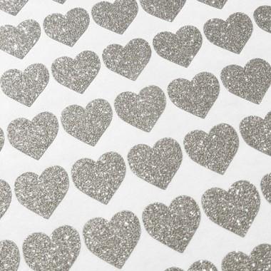 Coeurs de paillettes d'argent - Stickers décoratifs paillettes