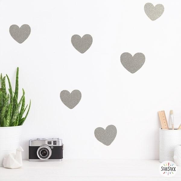 Coeurs de paillettes d'argent - Stickers décoratifs paillettes Stickers triangle et dots Les Tailles Quantité: 36 coeurs de 4,5 cm x 4 cm (largeur x hauteur)  vinilos infantiles y bebé Starstick