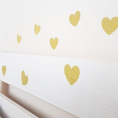 Corazones de purpurina dorada - Vinilos decorativos purpurina