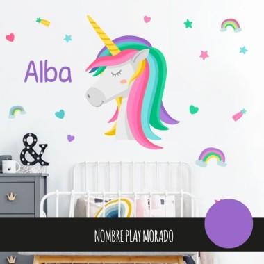 Vinils per a nena - Súper unicorn amb arc de sant Martí