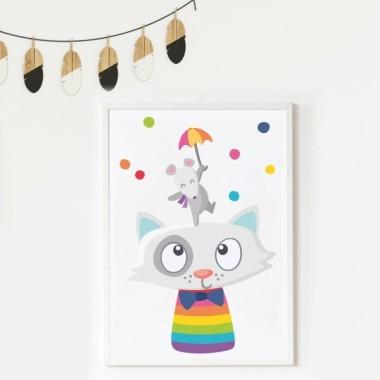 Toiles déco enfant - Animaux joyeux et confettis