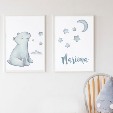 Lot de 2 affiche chambre enfant - Ours polaire