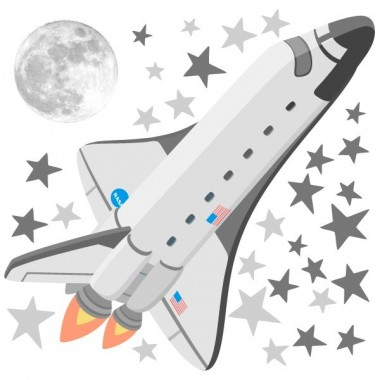 Transbordador espacial - Vinilos infantiles decorativos Vinilos infantiles Niño Vinilo decorativo con la ilustración de un transbordador espacial, estrellas y una luna. Una idea genial para decorar una pared y convertirla en un auténtico espacio. Fabulosos vinilos decorativos. Medidas aproximadas del vinilo montado (ancho x alto) Básico: 95x70 cm Pequeño: 125x85 cm  Mediano:165x110 cm  Grande: 220x140 cm Gigante:285x175 cm AÑADE UN NOMBRE AL VINILO DESDE 9,99€  vinilos infantiles y bebé Starstick
