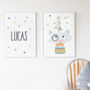 Pack de 2 láminas decorativas - Alegres animales con confeti. Tonos pastel