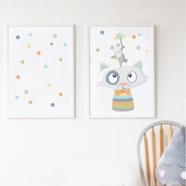 Lot de 2 affiche chambre enfant - Animaux joyeux et confettis. Couleurs pastels