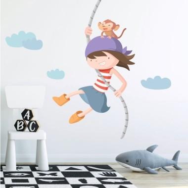Vinils infantils - Assalt pirata. nena Inici  Vinil infantil amb una atrevida nena pirata i un mico. Ideal per decorar de manera original i divertida les habitacions infantils, zones de joc, escoles... Hi ha el model pirata nen i pirata nena.  Mides aproximades del vinil enganxat (ample x alt) Bàsic:60x60cm Petit:90x90 cm Mitjà:120x120cm Gran:160x160cm Gegant:200x200cm AFEGEIX UN NOM PER EL VINIL DE 9,99€   vinilos infantiles y bebé Starstick