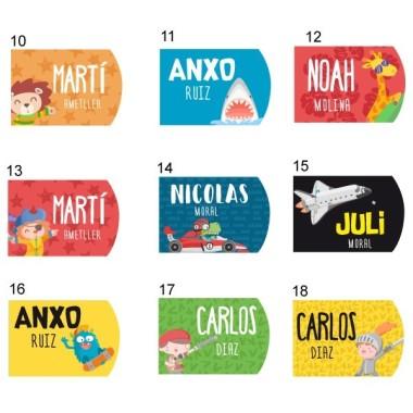 Llaveros personalizados - ¡Distintos colores! Etiquetas Llaveros personalizables para colgar en mochilas, neceseres, estuches, bolsas de deporte… Existen distintos colores a elegir y se pueden personalizar con distintos dibujos. ¡Selecciona los colores y dibujos que más te gusten y haz que tu maleta sea única! Material:Aluminio de colores Tamaño de cada llavero:5 cm x 2,90 cm Unidades:Packs de 2 o 4llaveros Líneas imprimibles: 2 vinilos infantiles y bebé Starstick