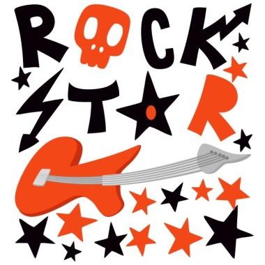 """Vinil """"Rock Star"""" - Vinils decoratius Vinils Nen  Original vinil decoratiu infantil per als apassionats del rock. Decora parets o mobles amb el lema """"Rock Star"""", una guitarra i estrelles de colors. Pots personalitzar el vinil infantil amb els colors que més t'agradin. Vinils decoratius infantils relacionats amb la música.  Mides aproximades del vinil enganxat (ample x alt) Bàsic:70x70cm Petit:100x100cm Mitjà:145x145 cm Gran:200x200 cm Gegant:250x250 cm vinilos infantiles y bebé Starstick"""