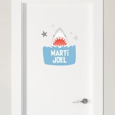 Super shark - Sticker pour enfants Stickers porte chambre Taillede la feuille/montage1 prénom: 30,5 x 21 cm2 prénoms: 30,5 x 27 cm vinilos infantiles y bebé Starstick